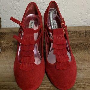 Red Suede Tuxedo Platforms/Chunky Heel